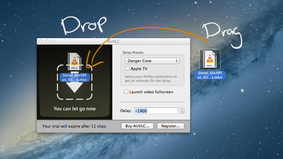 A screenshot of showing how to drag items into AirVLC