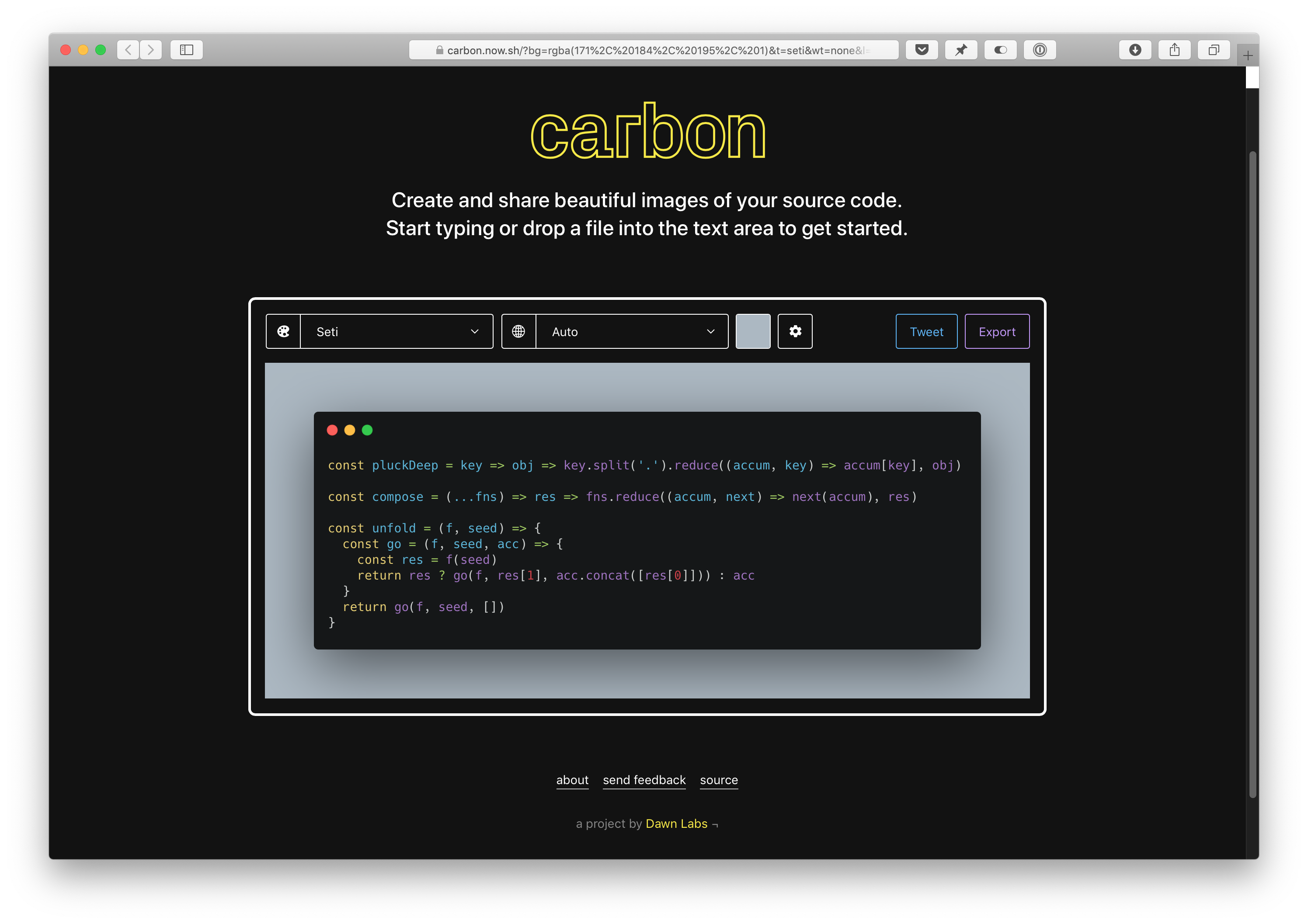 Screenshot of carbon.now.sh running in Safari