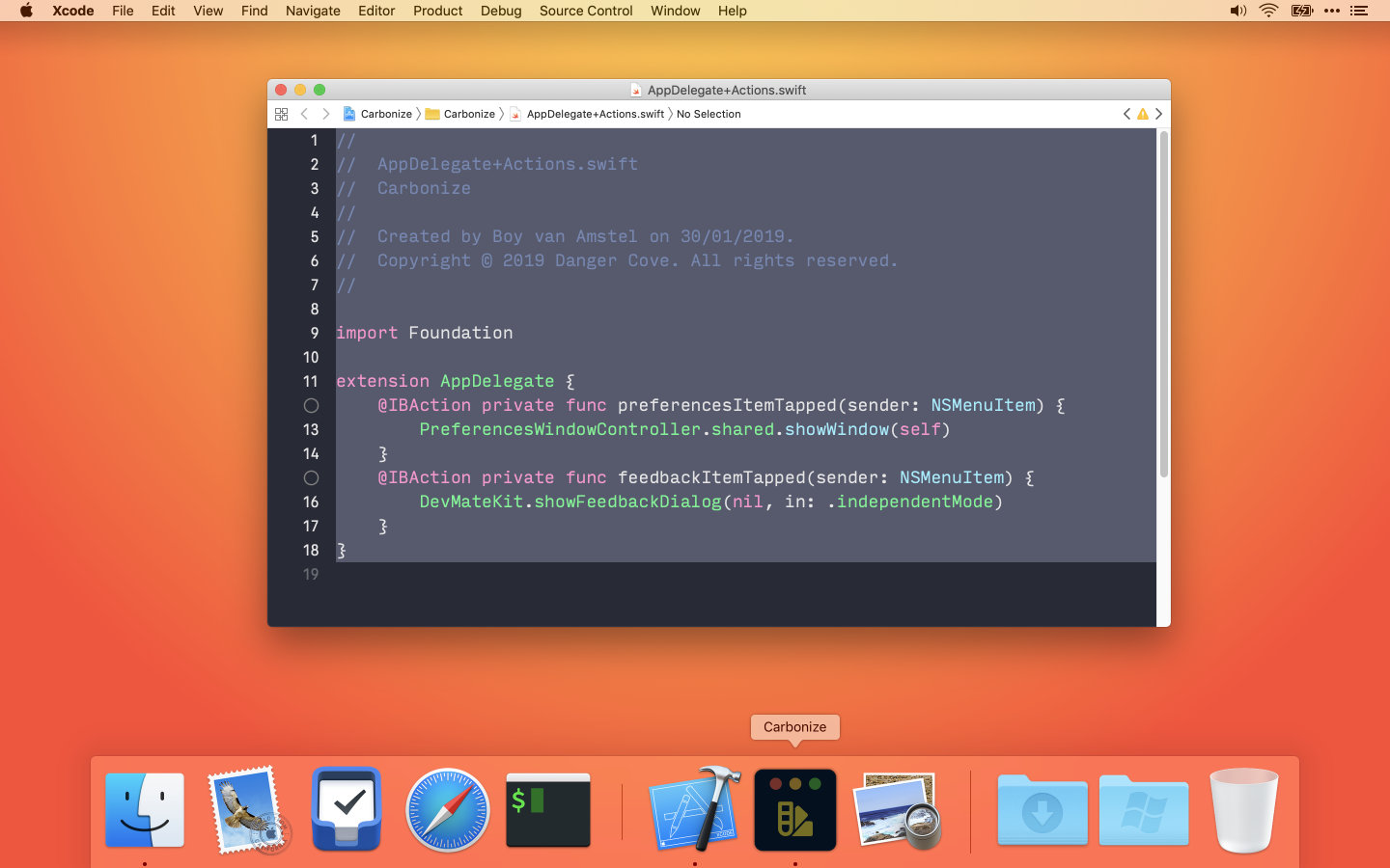 A desktop screenshot showing you can drag code onto the Dock icon