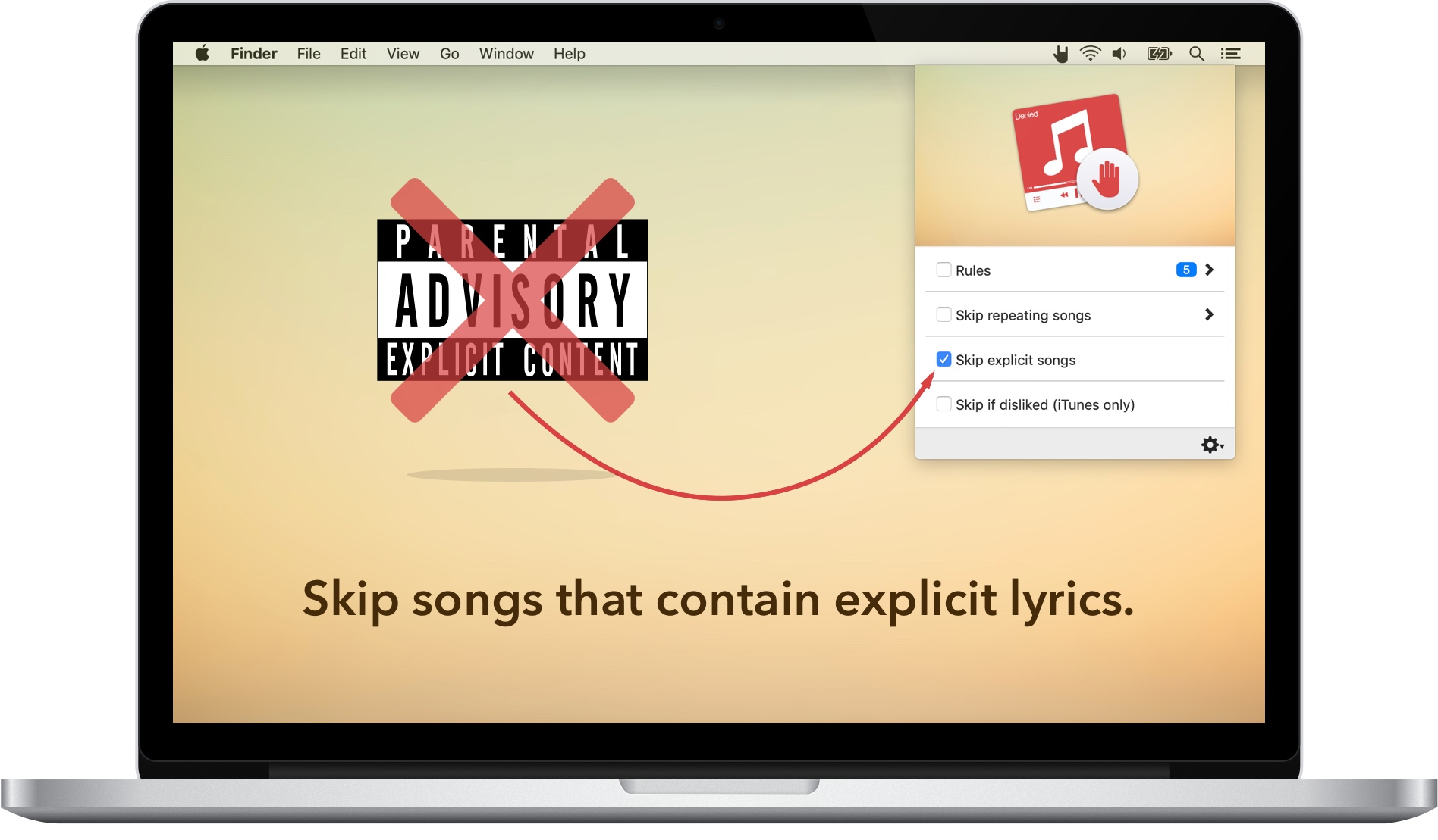 A MacBook running Denied showing that it can skip explicit songs
