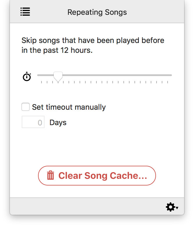 Denied showing settings for skipping repeating tracks