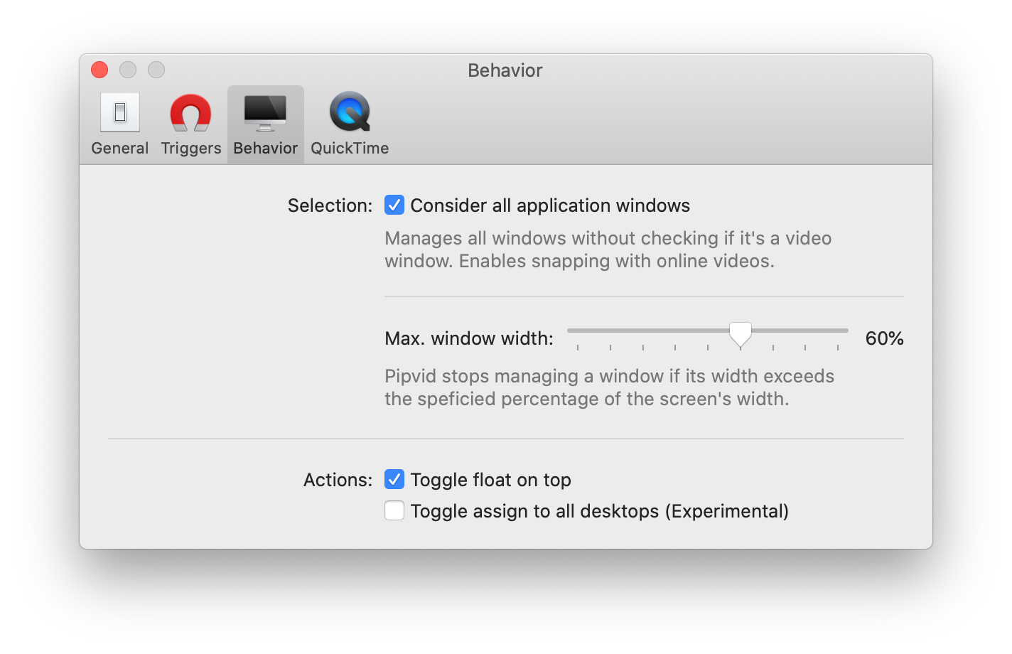 Shows Pipvid's preferences screen where you can modify its behavior