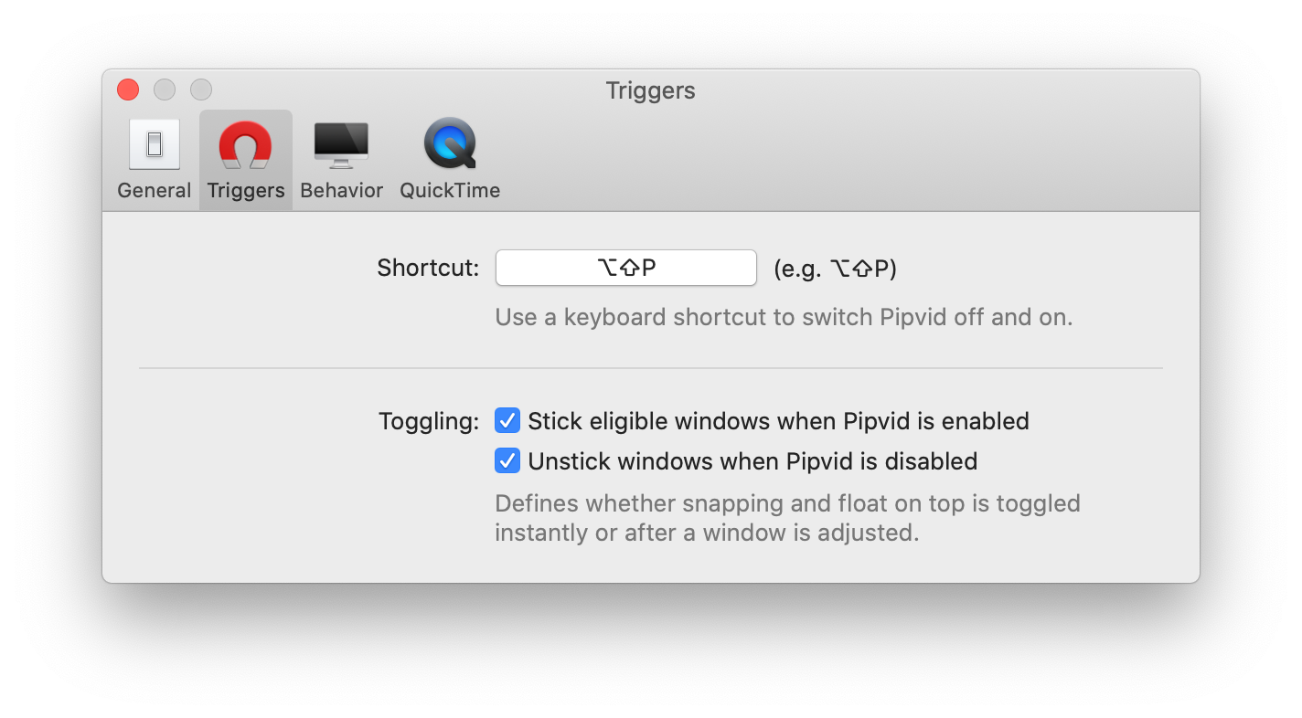 A screenshot of Pipvid's new keyboard shortcut setting