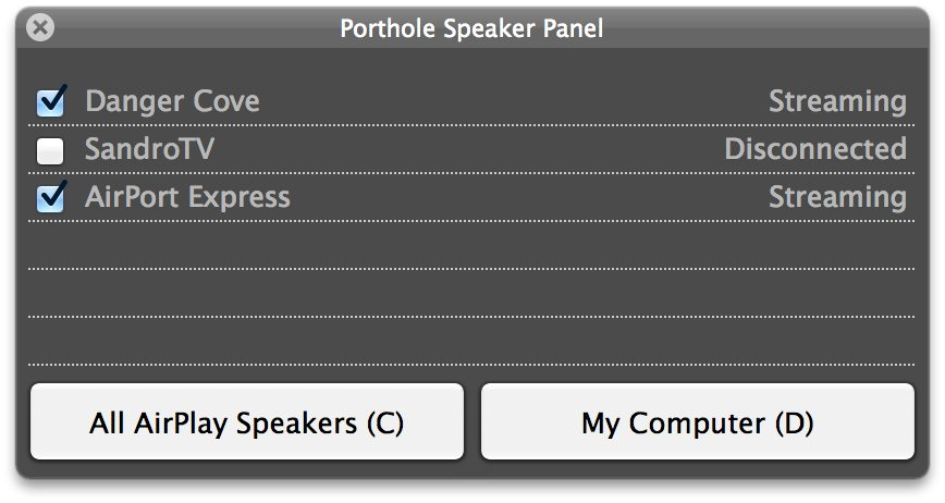 Screenshot of Porthole's hotkey panel