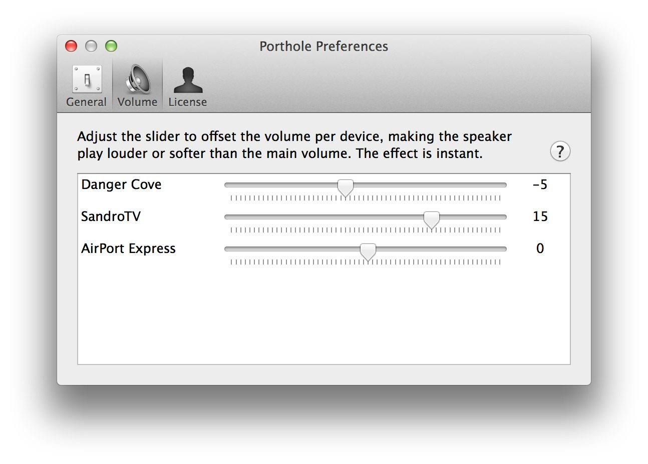 Screenshot of Porthole's per speaker volume control