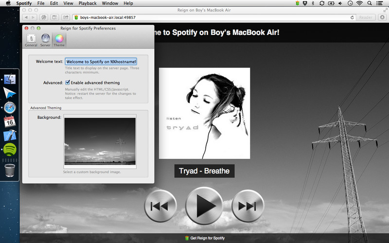 Controlling Spotify from a browser through Reign