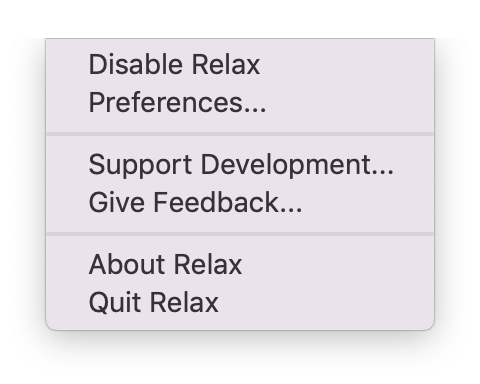A screenshot showing Relax' menu bar menu.