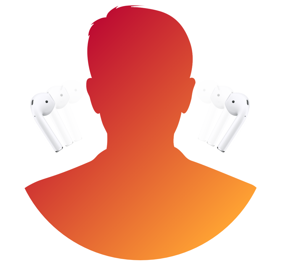 A vector image showing an avatar unplugging AirPods