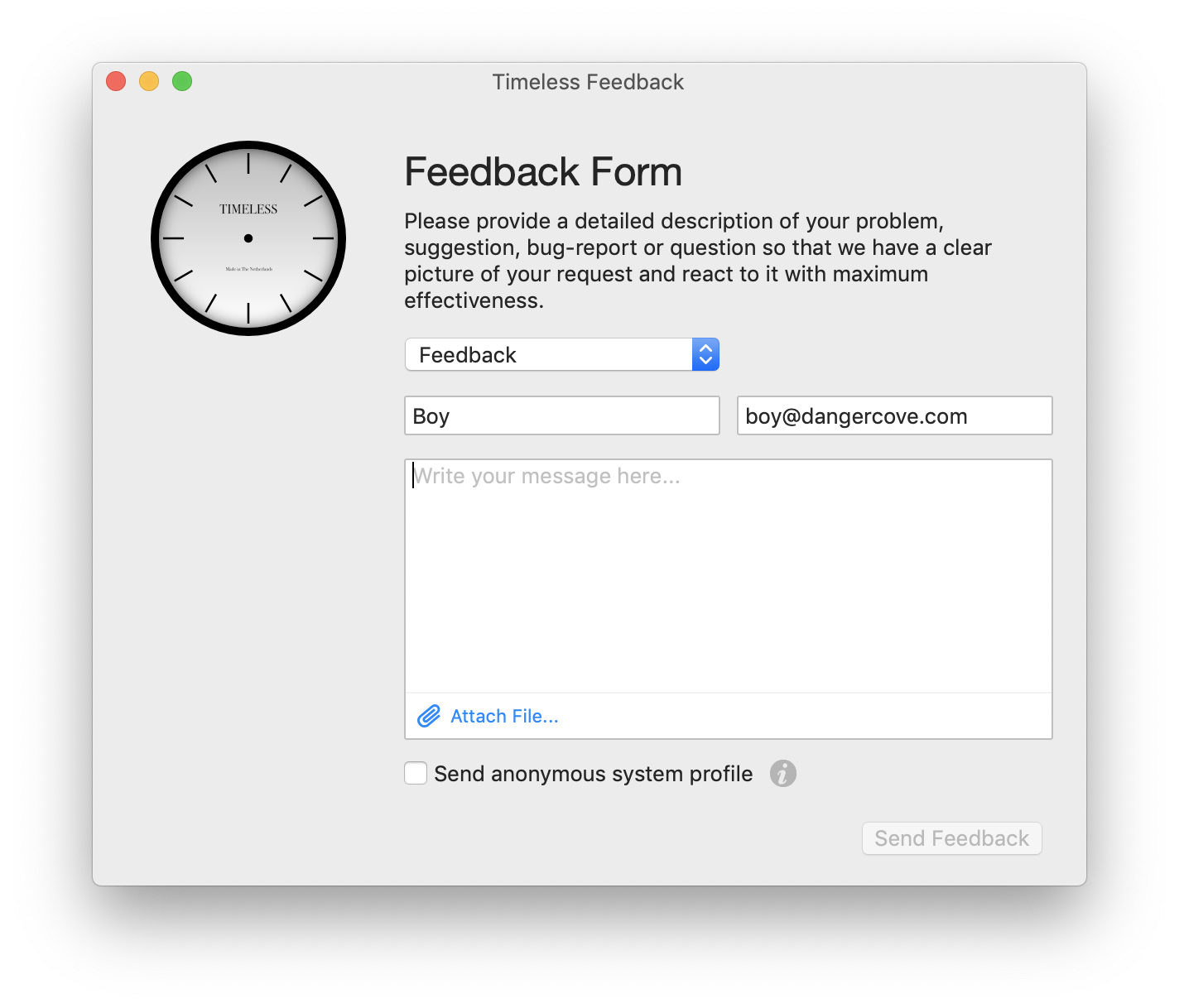 A screenshot of the feedback window built into Timeless