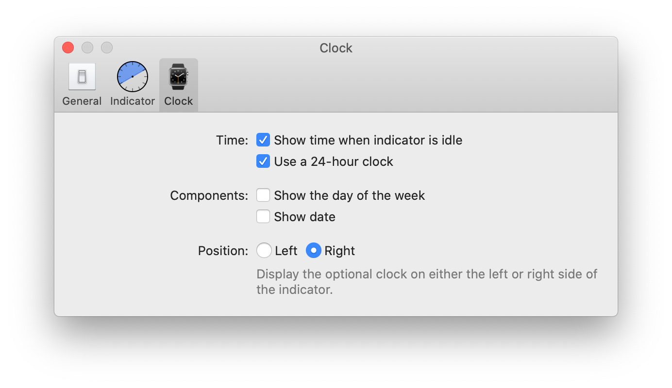 A screenshot of the optional clock's preferences window