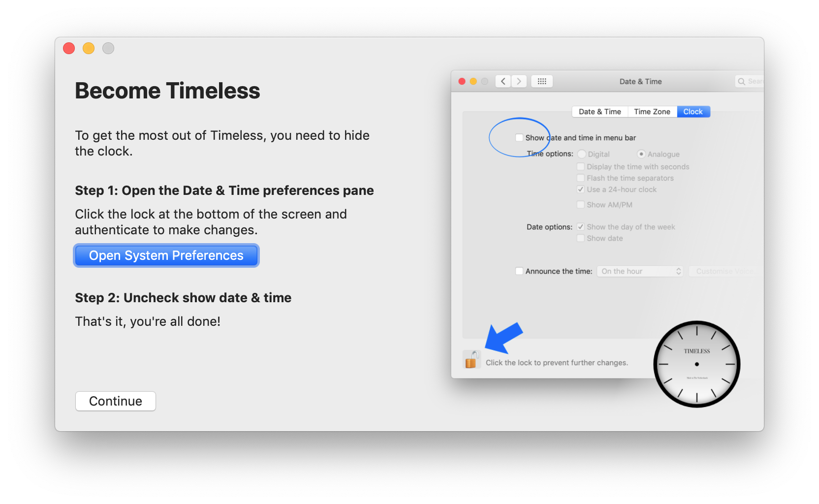 A screenshot of Timeless' setup wizard, showing how to disable the clock