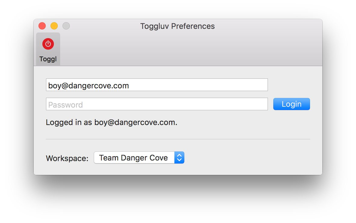 Shows the preferences screen of Toggluv