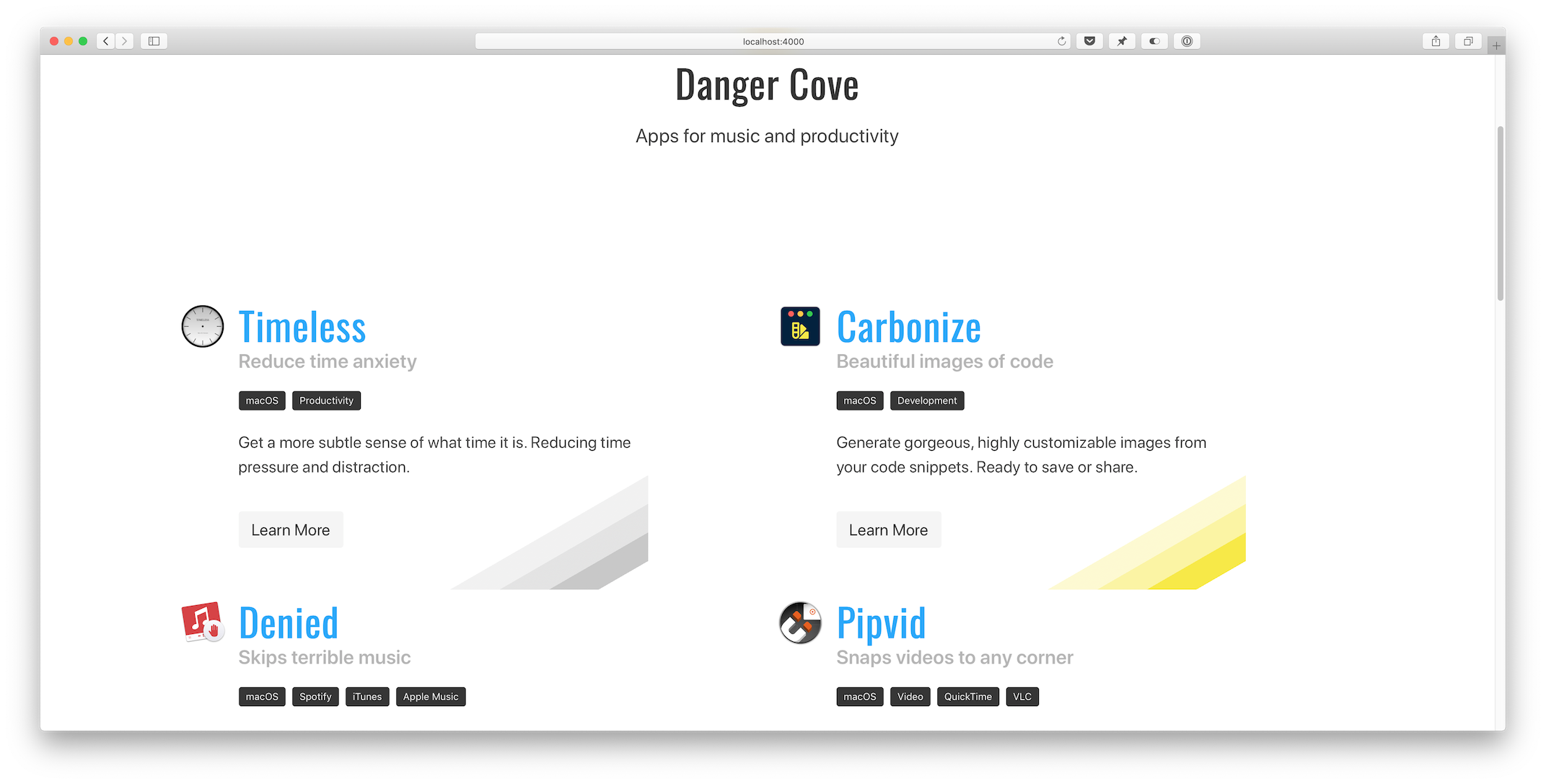 A screenshot of the homepage before the changes. There was a large header with just the Danger Cove logo.
