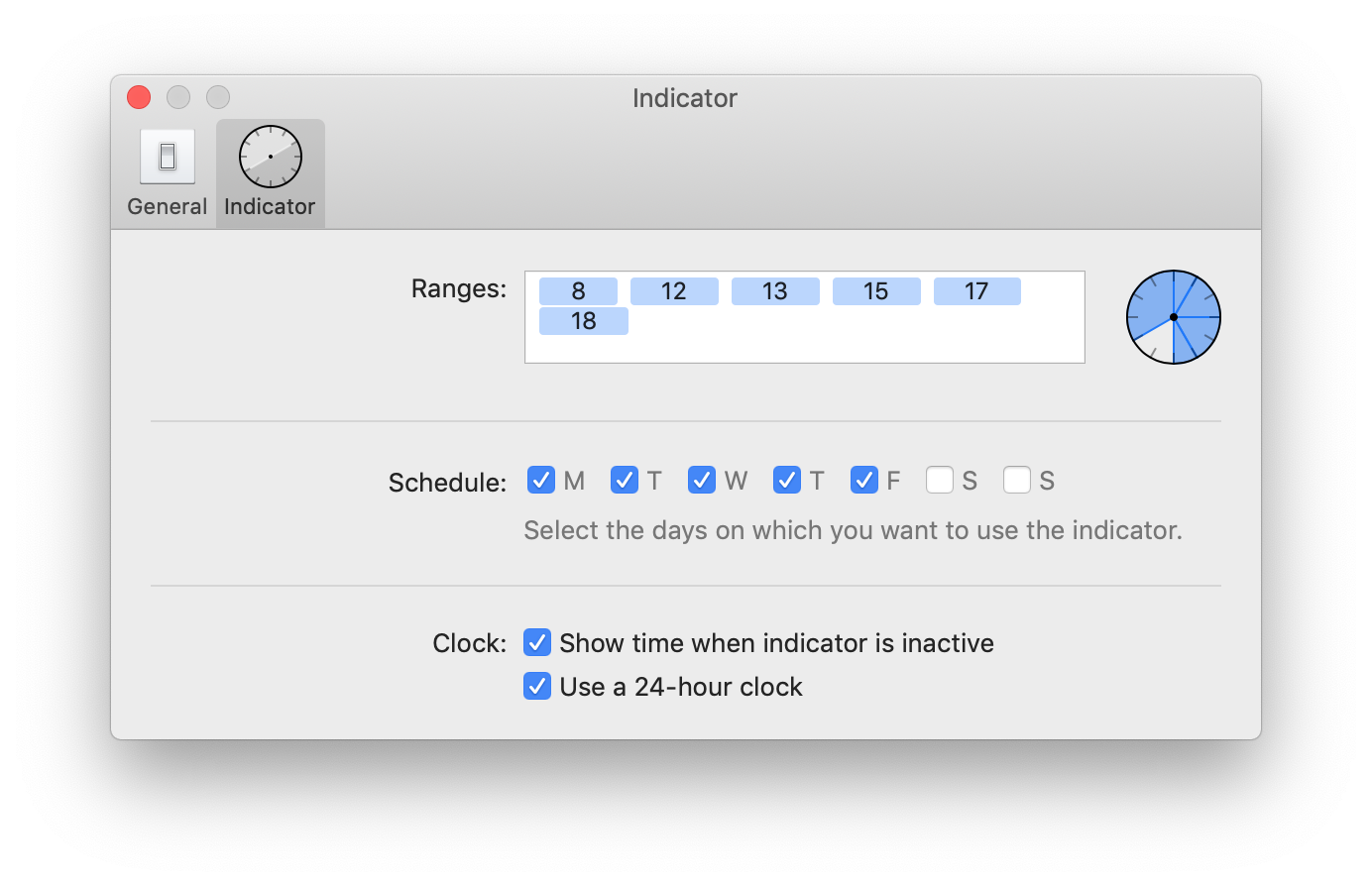 A screenshot of Timeless' indicator preferences