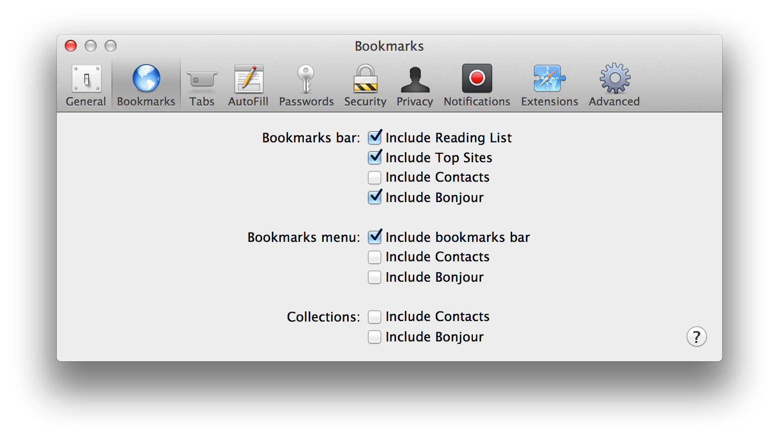 Enable Bonjour bookmarks