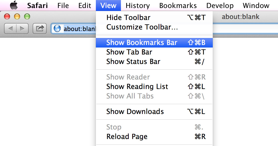 Show bookmarks bar